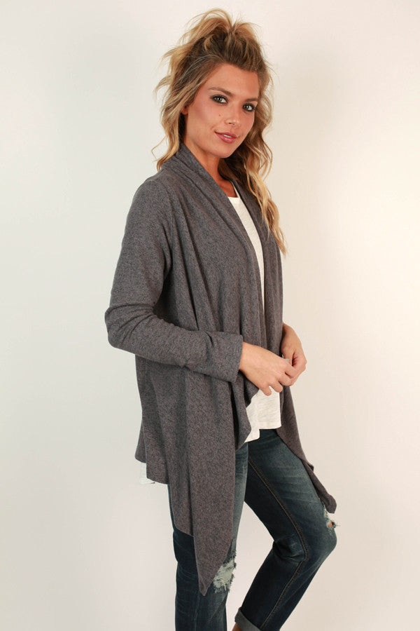 Button To Perfection Cardigan In Charcoal