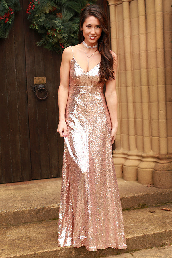 The Grand Entrance Maxi Dress In Rose Gold