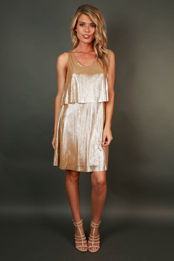 Sparkle and Shine Mini Dress in Metallic Gold