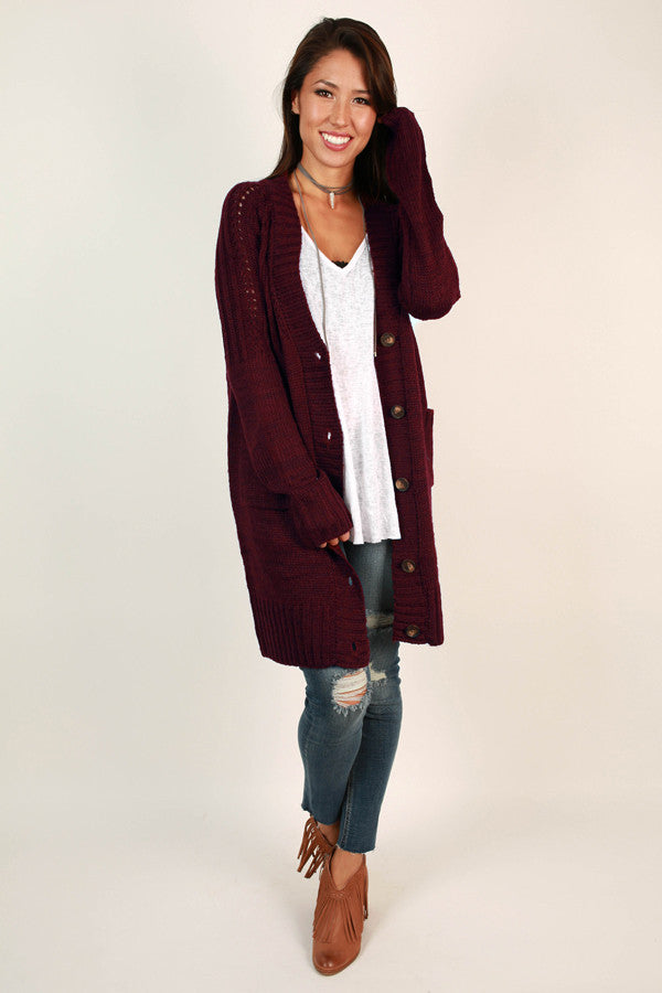 Cozy And Carefree Cardigan In Wine