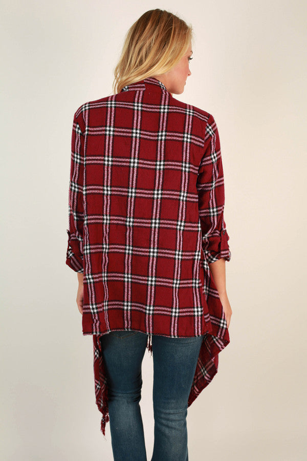 Visit To Vail Plaid Cardigan