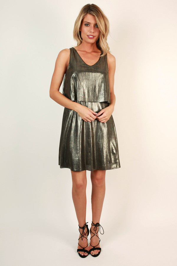 Sparkle and Shine Mini Dress in Metallic Gold Black