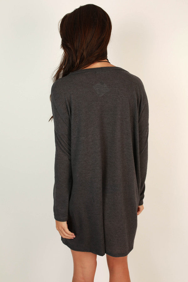 Vail Getaway Shift Dress in Charcoal