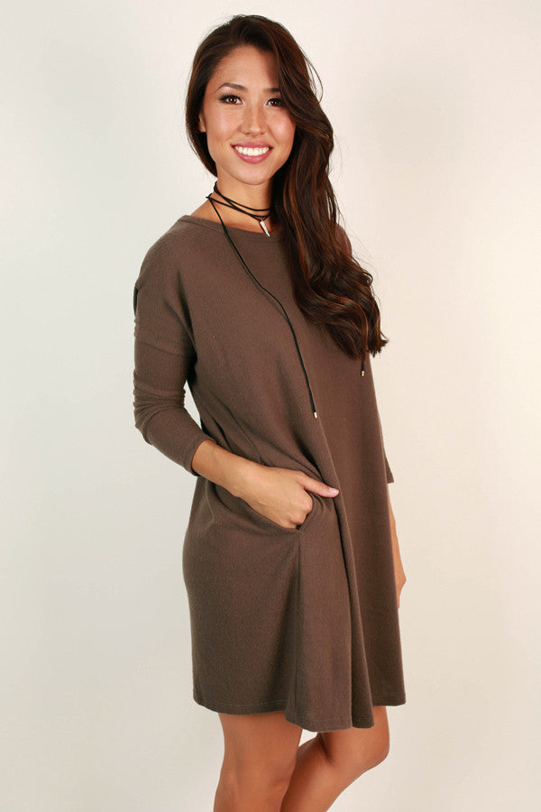 Vail Getaway Shift Dress in Mocha
