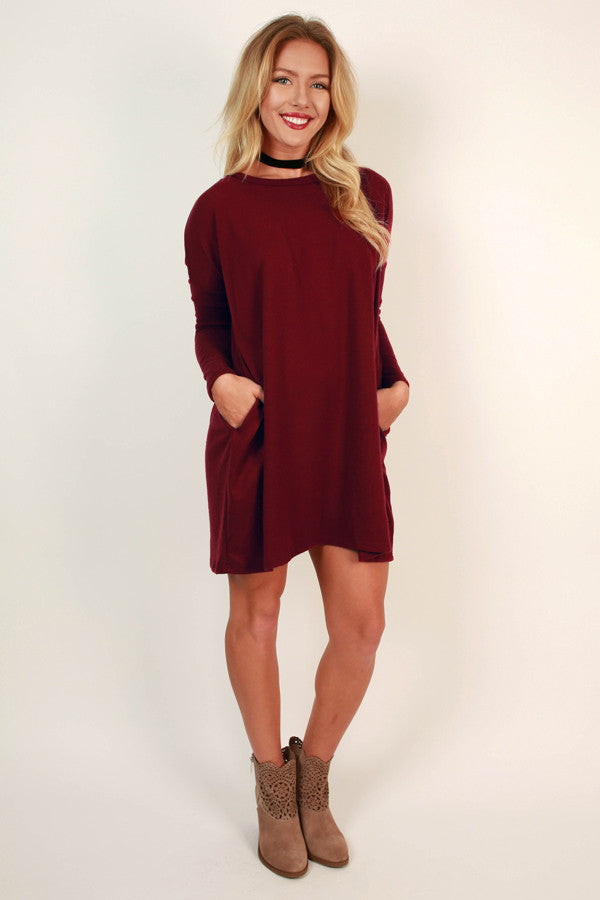 Vail Getaway Shift Dress in Crimson