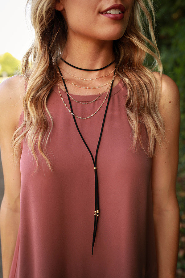 Go For The Gold Layered Choker in Black