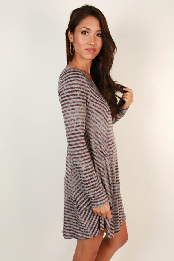 Striped Success Shift Dress in Maroon