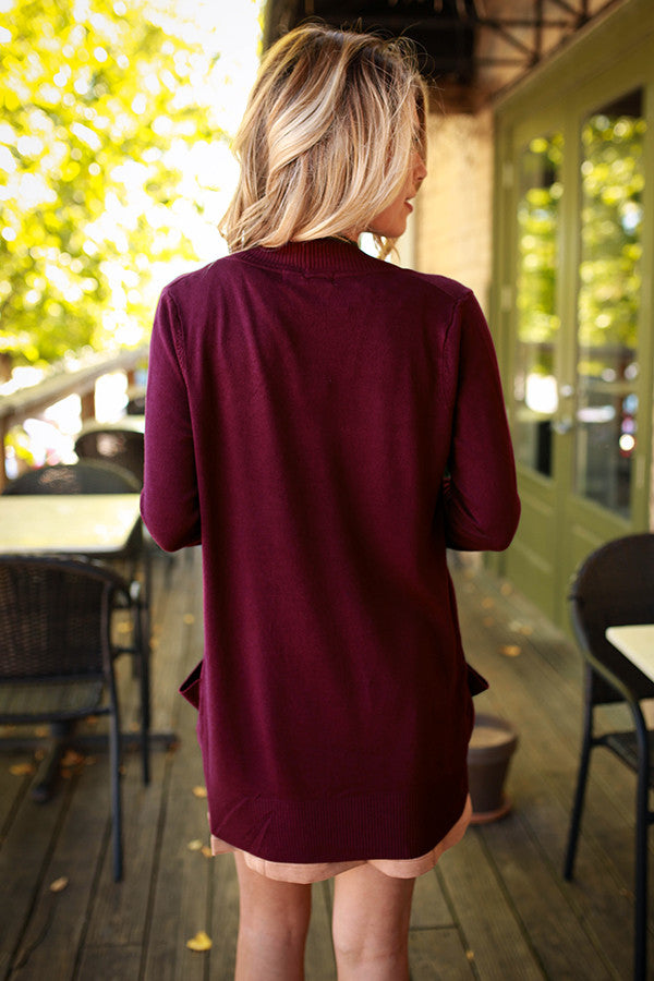 Brunching Babes Cardigan in Wine