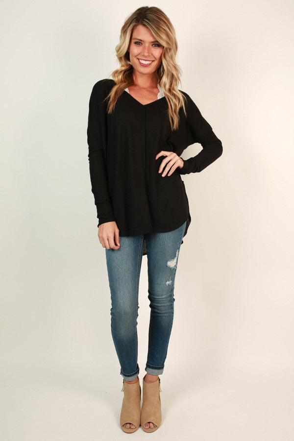 Cute and Cozy Top in Black