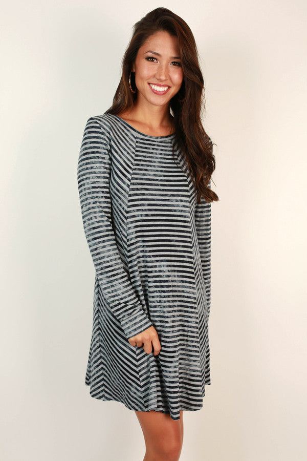 Striped Success Shift Dress in Indigo Blue