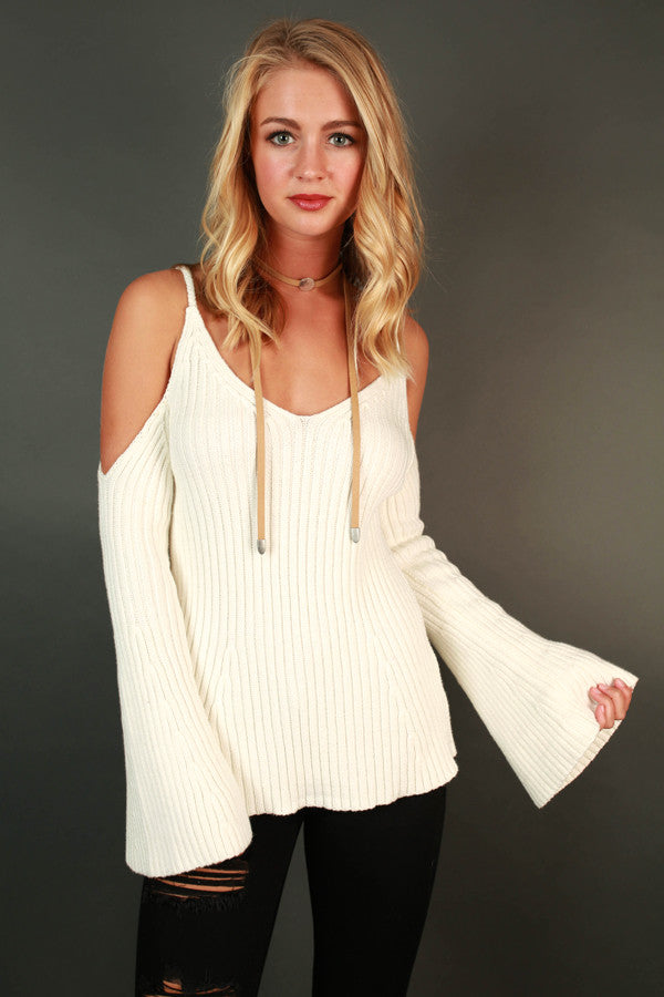 Beachside Dreaming Cold Shoulder Sweater in Ivory