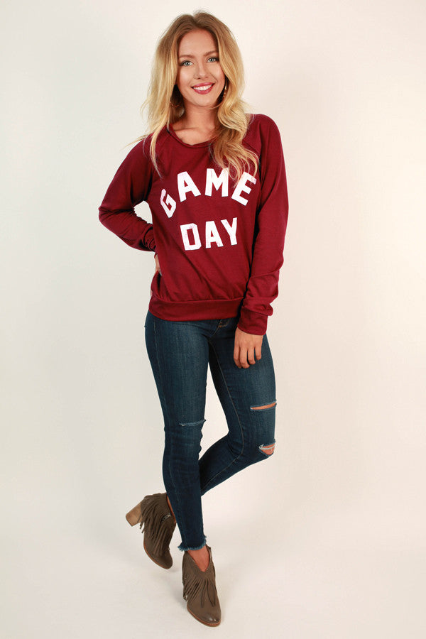 Game Day Ready Sweater in Crimson