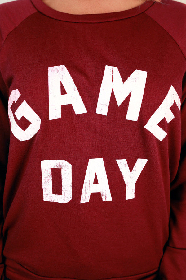 Game Day Sweater in Crimson