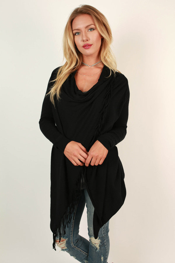 Fall Retreat Cardigan in Black