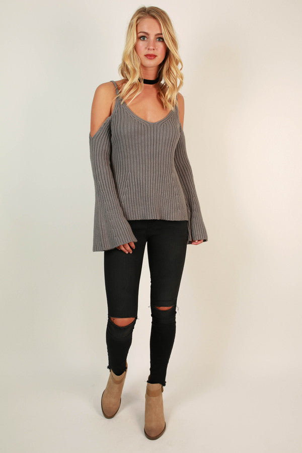 Beachside Dreaming Cold Shoulder Sweater in Grey