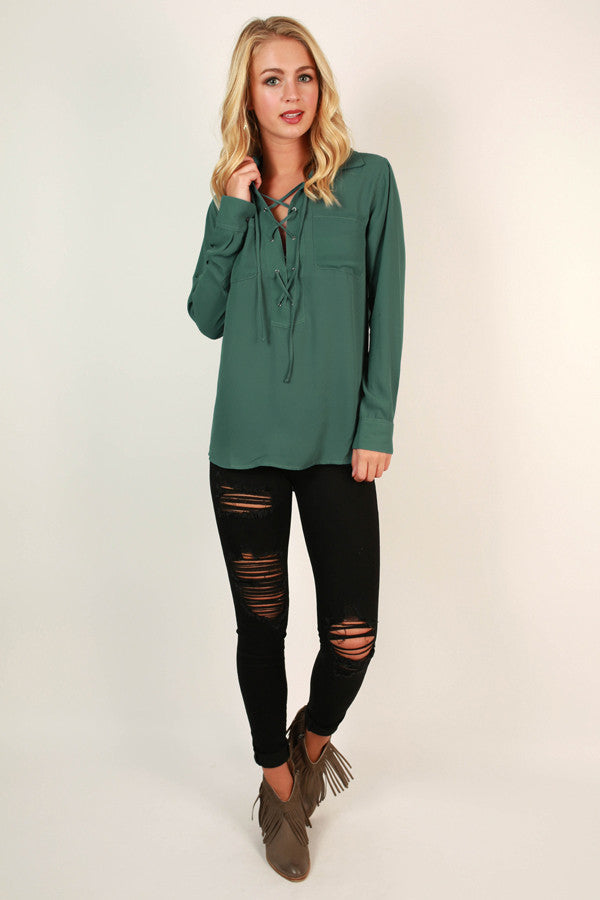 Starry Eyes Lace Up Top