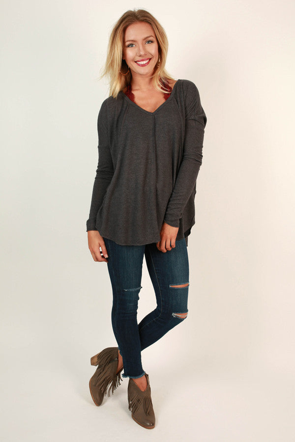 Cute and Cozy Top in Charcoal