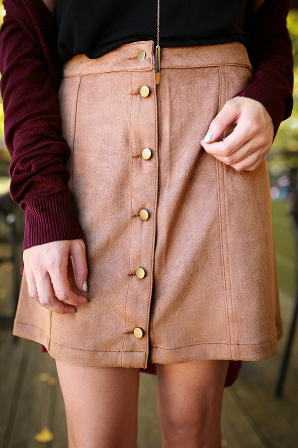 Mod About You Faux Suede Skirt