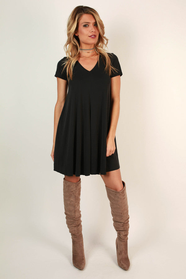 All Eyes On You V-neck Shift Dress in Black