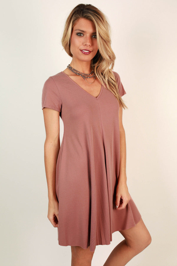 All Eyes On You V-neck Shift Dress in Blush