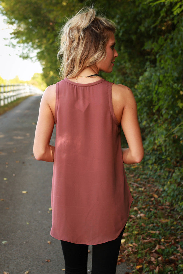 Weekend Escape Shift Tank in Rustic Rose