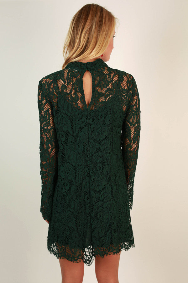 Walk My Way Lace Dress in Hunter Green