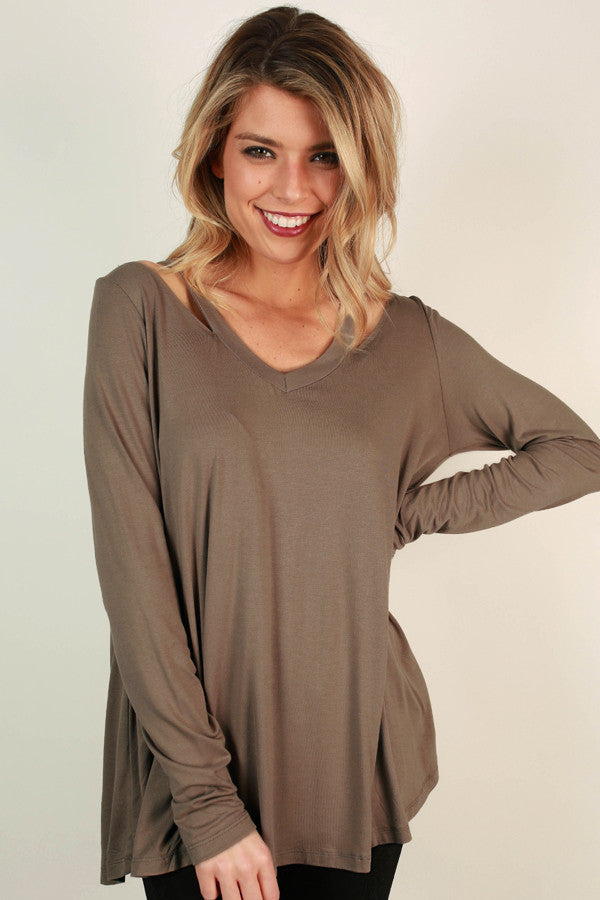 Call Me Cutie Cold Shoulder Top in Mocha