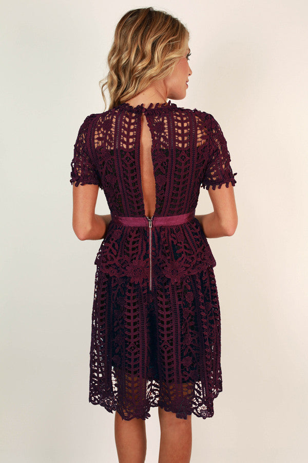 Primrose Party Crochet Dress in Wine