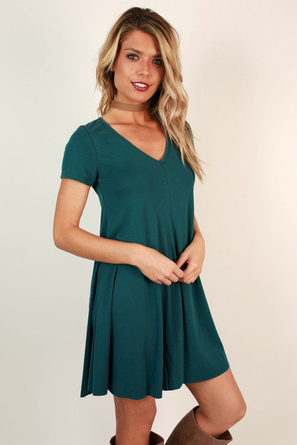All Eyes On You V-neck Shift Dress in Teal