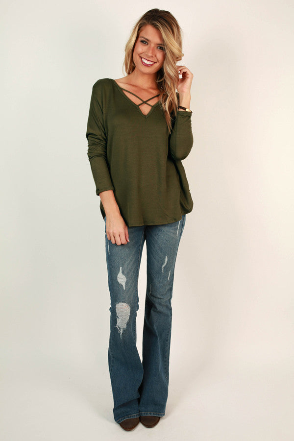 Lost in The Moment Cross Top in Army Green