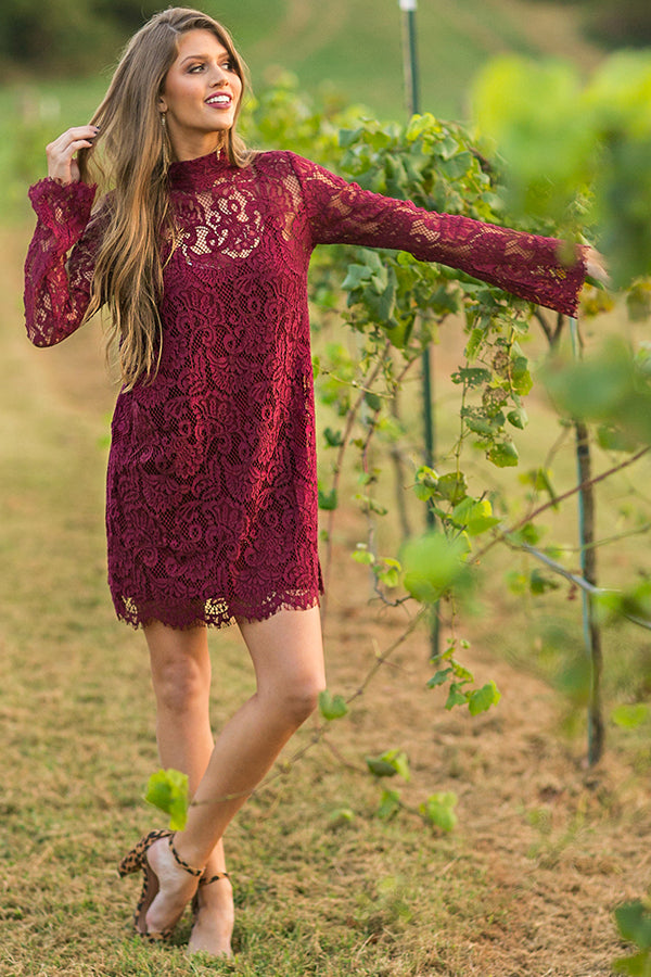 Walk My Way Lace Dress in Wine