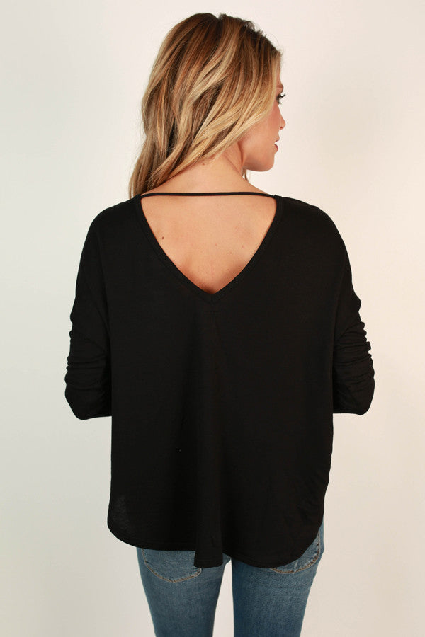 Lost in The Moment Cross Top in Black