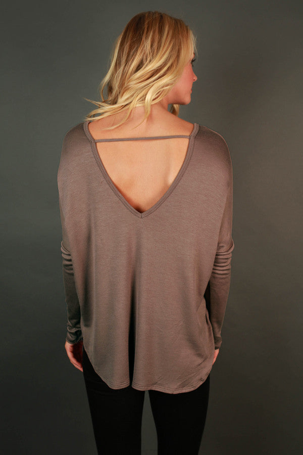 Lost in The Moment Cross Top in Mocha