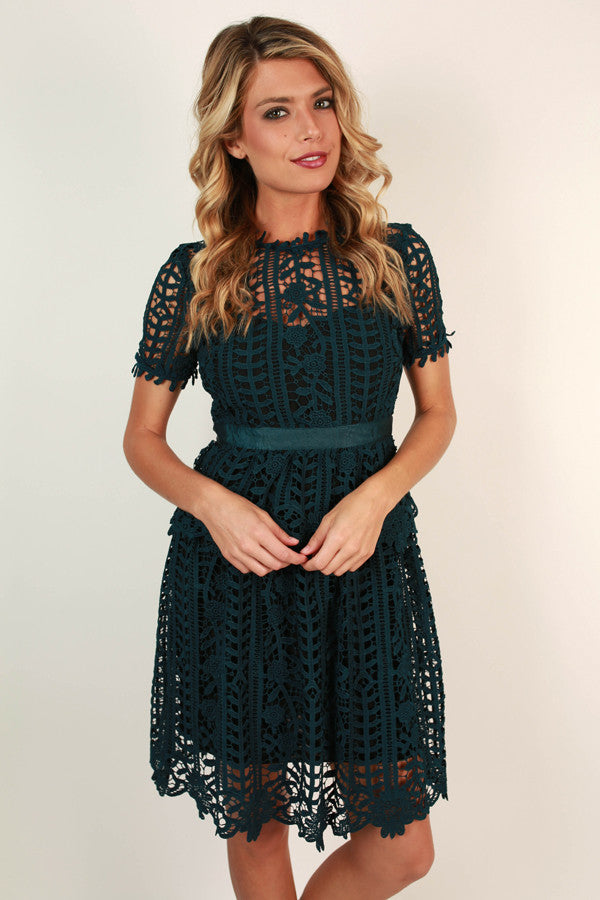 Primrose Party Crochet Dress in Dark Teal