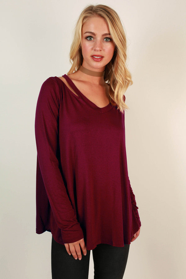 Call Me Cutie Cold Shoulder Top in Wine