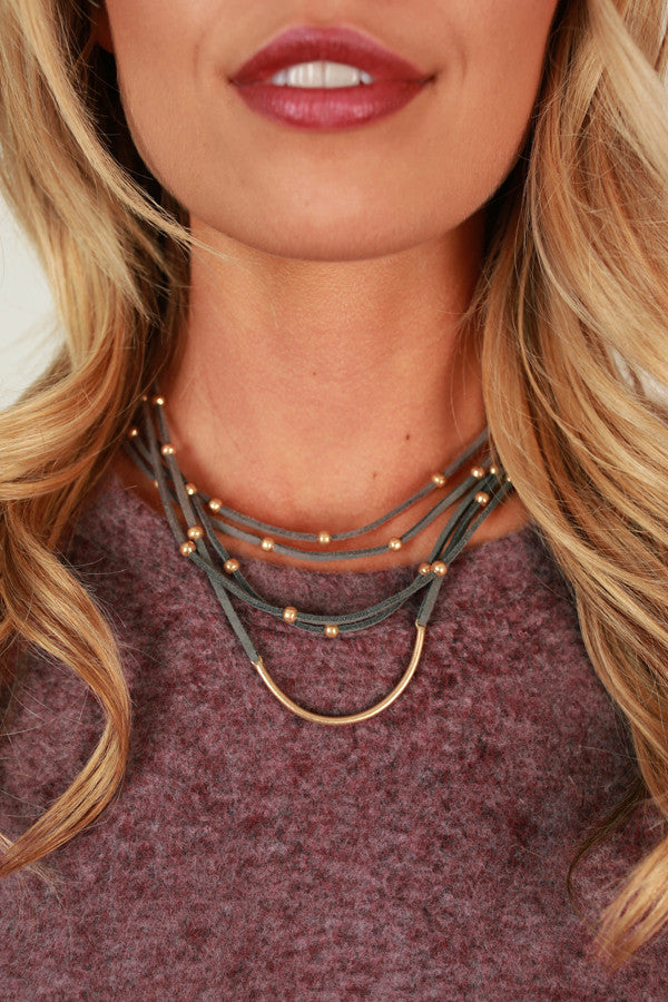 Fashion Week Layered Choker in Grey
