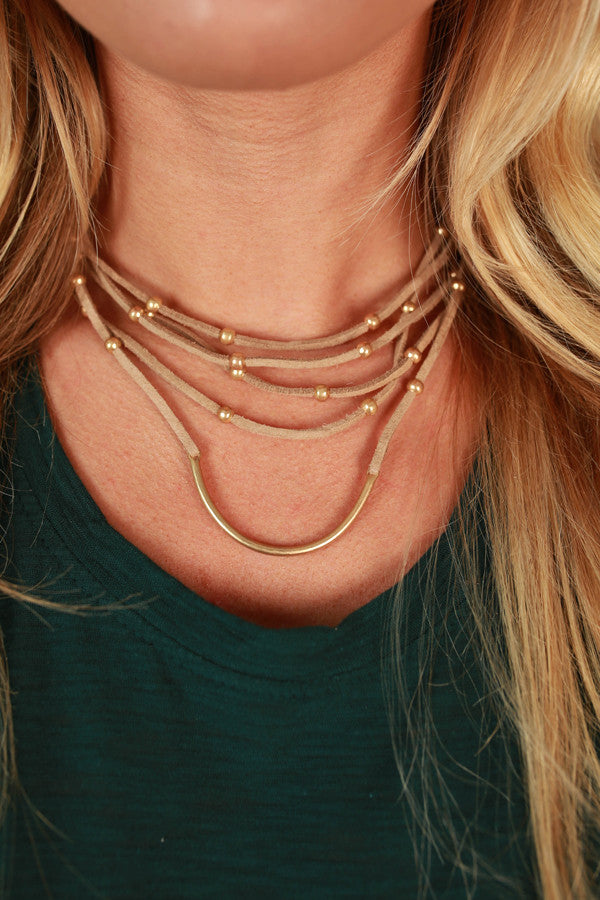 Fashion Week Layered Choker in Warm Taupe