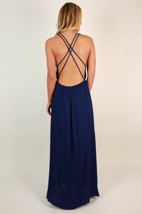 Dinner At The Ritz Maxi Dress in Royal Blue