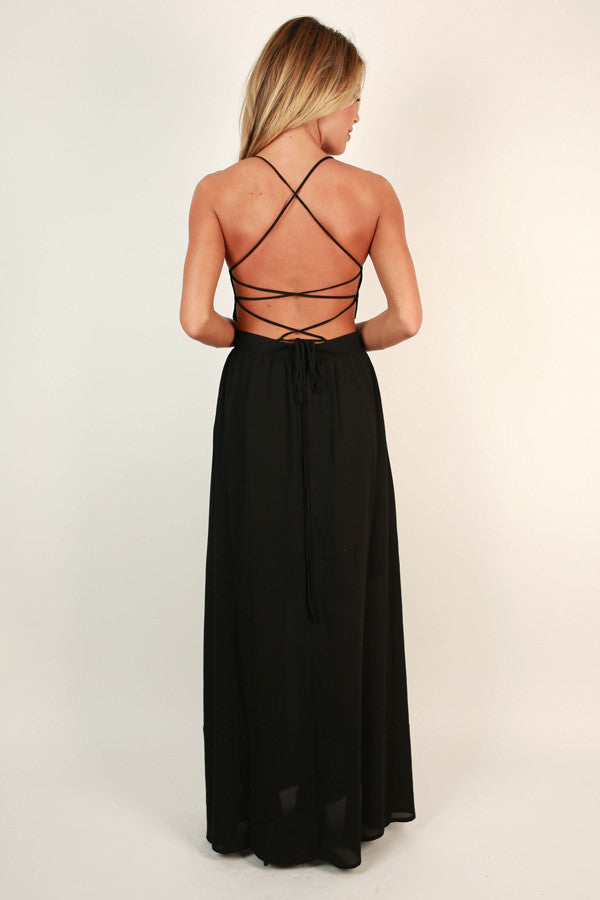 Late Night Gala Maxi Dress in Black