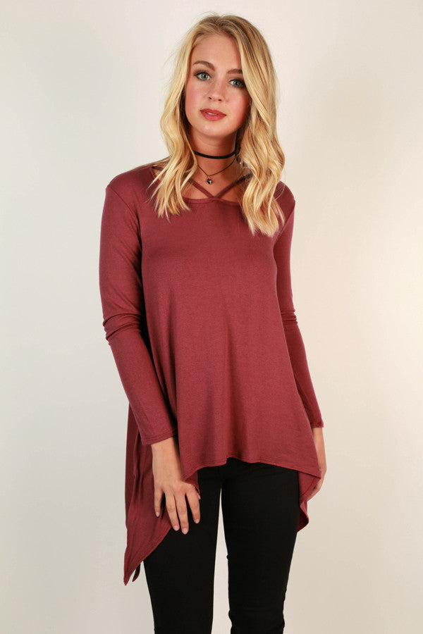 Highway to Happy Top in Aurora Red