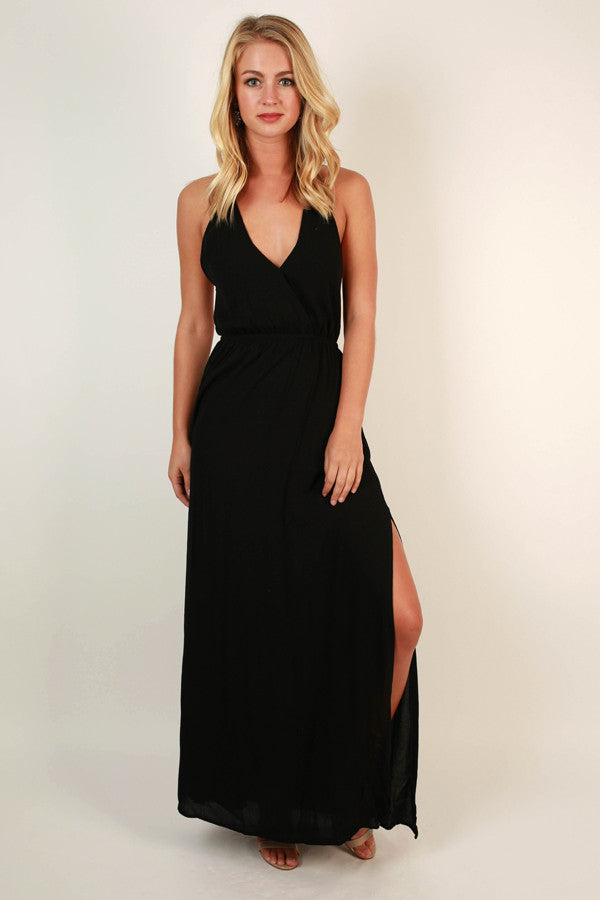 Dinner At The Ritz Maxi Dress in Black