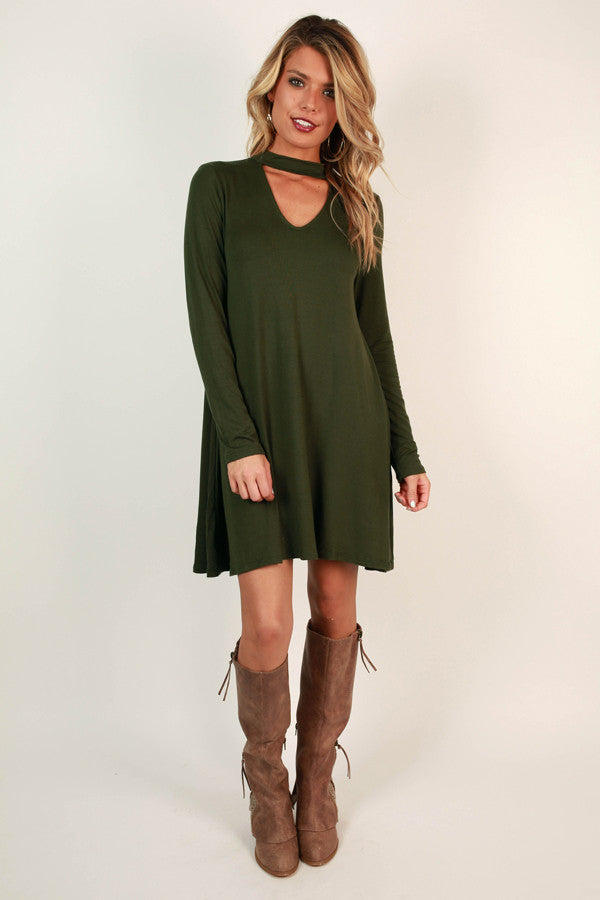 Risky Business Cut Out Dress in Army Green