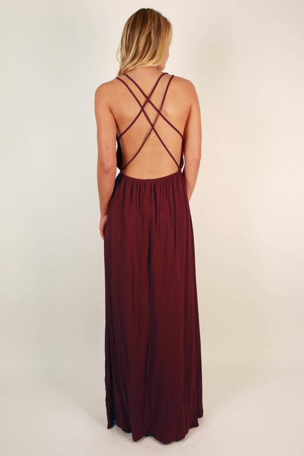 Dinner At The Ritz Maxi Dress in Wine