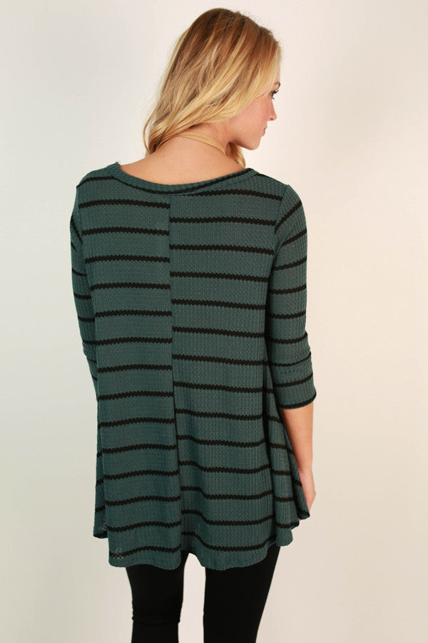 Teal It How It Is Stripe Top