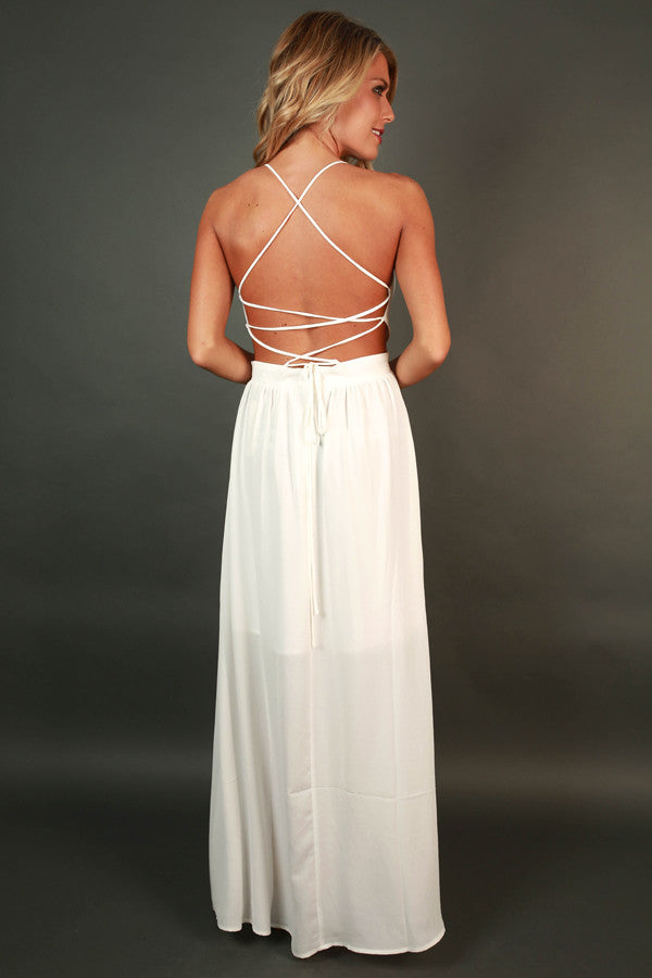 Late Night Gala Maxi Dress in White