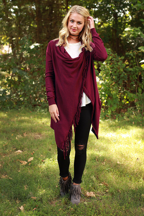 Fall Retreat Cardigan in Sangria