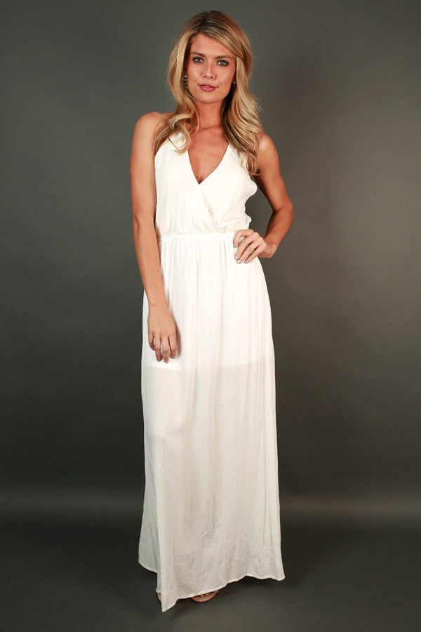 Dinner At the Ritz Maxi Dress in White