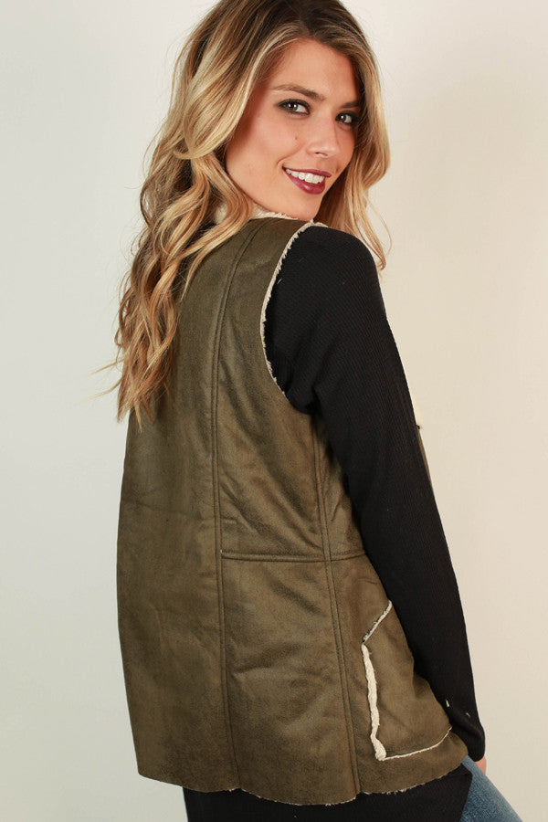 Latte Luxe Faux Fur Vest in Army Green