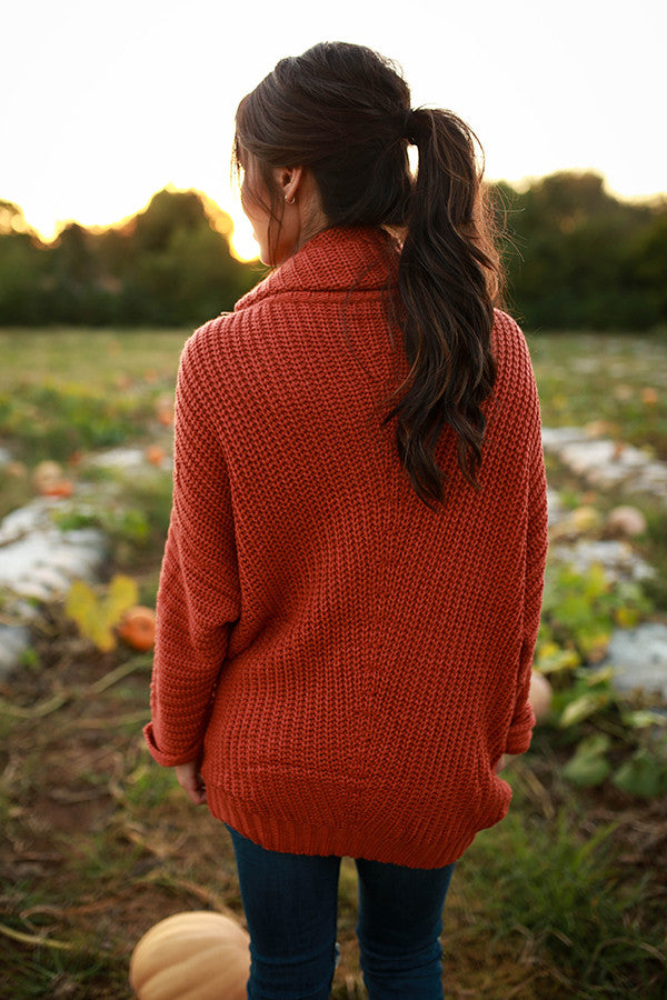 Fireside Snuggles Sweater in Rust