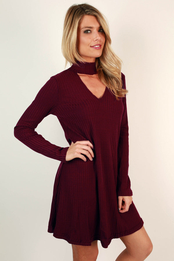 The One and Only Sweater Dress in Wine
